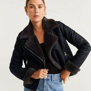NWT Mango Faux fur lapel biker jacket black size M